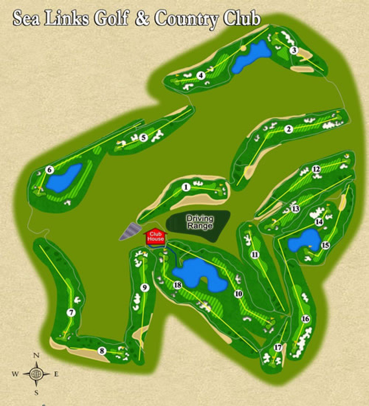 Mapa golfového hřiště