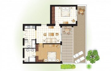 Dream Villa Two Bedroom with private Garden & Sea View (85 m²)