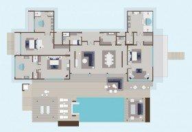 Three-Bedroom Presidential Water Villa