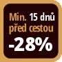 Při objednání minimálně 15 dnů před zahájením pobytu získáte slevu 28% z celé ceny ubytování.