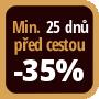 Při objednání minimálně 25 dnů před zahájením pobytu získáte slevu 35% z celé ceny ubytování.