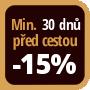 Při objednání minimálně 30 dnů před zahájením pobytu získáte slevu 15% z celé ceny ubytování.