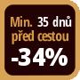 Při objednání minimálně 35 dnů před zahájením pobytu získáte slevu 34% z celé ceny ubytování.