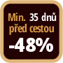 Při objednání minimálně 35 dnů před zahájením pobytu získáte slevu 48% z celé ceny ubytování.