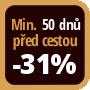 Při objednání minimálně 50 dnů před zahájením pobytu získáte slevu 31% z celé ceny ubytování.