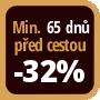 Při objednání minimálně 65 dnů před zahájením pobytu získáte slevu 32% z celé ceny ubytování.