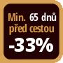 Při objednání minimálně 65 dnů před zahájením pobytu získáte slevu 33% z celé ceny ubytování.