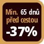 Při objednání minimálně 65 dnů před zahájením pobytu získáte slevu 37% z celé ceny ubytování.