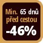 Při objednání minimálně 65 dnů před zahájením pobytu získáte slevu 46% z celé ceny ubytování.