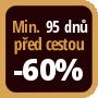 Při objednání minimálně 95 dnů před zahájením pobytu získáte slevu 60% z celé ceny ubytování.